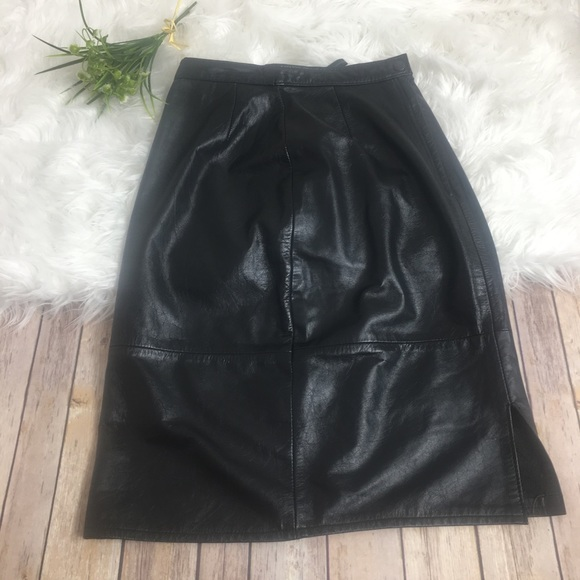 6b5228486398 Genuine Leather Skirts | Leather Black 80s High Waisted Pencil Skirt ...